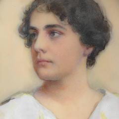 Laura Coombs Hills - Portrait Miniature of a Young Woman