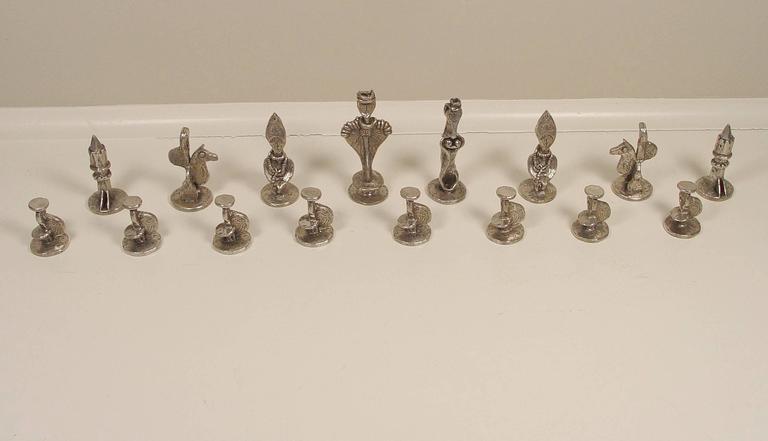 Chess Set - Beige Figurative Sculpture by Dorothy Dehner