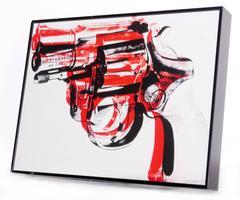 Vintage Warhol Offset Gun Print, Framed
