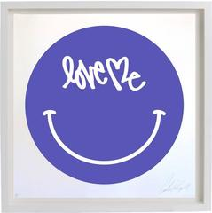 Love Me Smiley Face Screen Print by Curtis Kulig