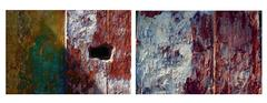 Iridescent Adobe Diptych photo, Mexico 1981 (Monte Alban)