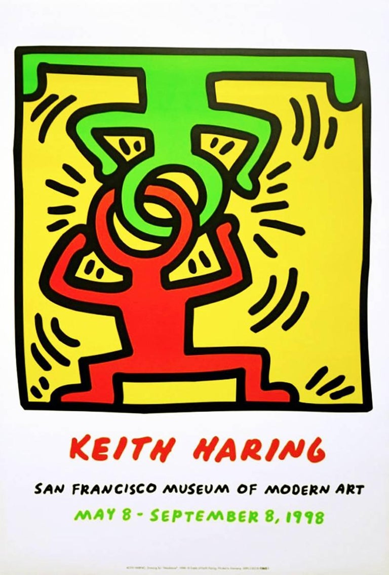 (after) Keith Haring Figurative Print - Vintage Keith Haring exhibit poster (keith haring San Francisco)