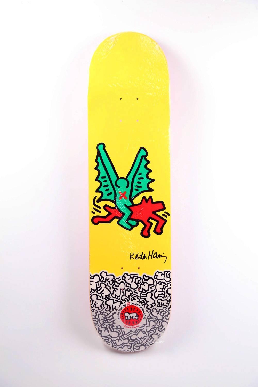 after) Keith Haring - Keith Haring Dragon Skateboard Deck (Yellow ...