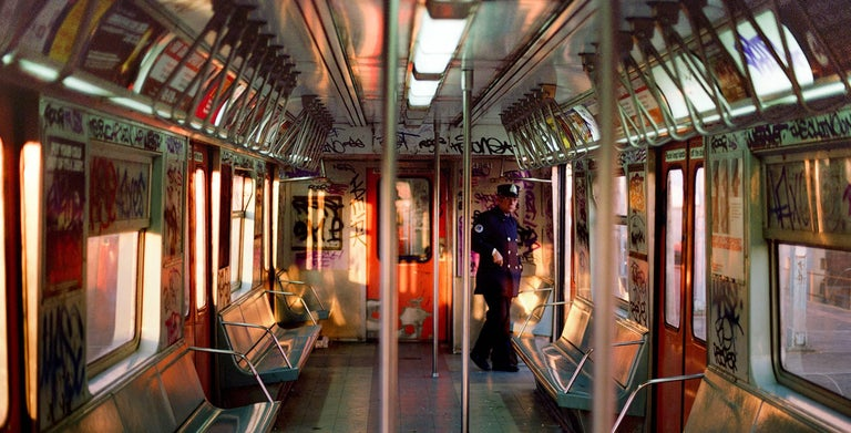 Robert Herman Color Photograph - 'Train Conductor' New York City, 1985 (The New Yorkers)