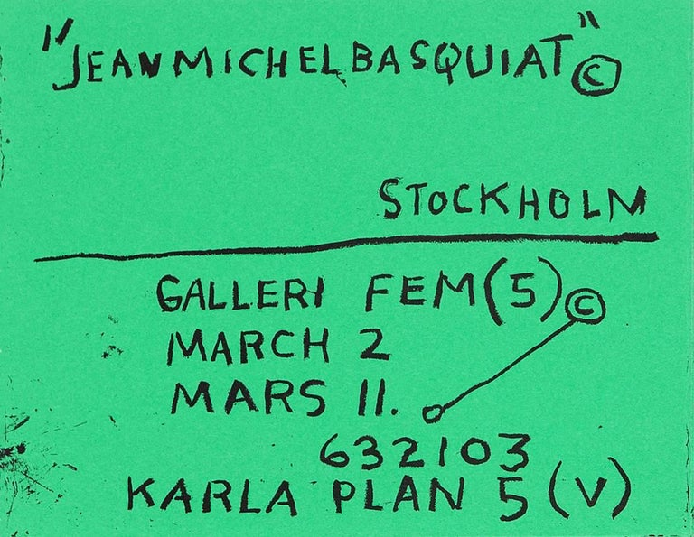 Basquiat Stockholm exhibition poster 1984 (Basquiat prints)  For Sale 2