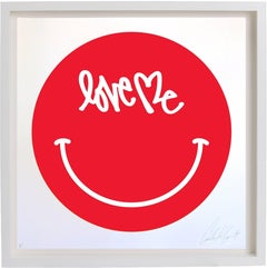 Love Me Red Smiley Face Screen Print by Curtis Kulig