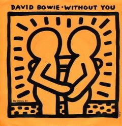 Rare Original Keith Haring Vinyl Record Art (David Bowie)