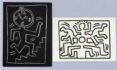 Set of 2 Keith Haring announcement cards (1988 & 1990)