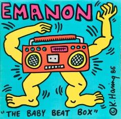 Rare Original Keith Haring Vinyl Record Art (Keith Haring boombox)