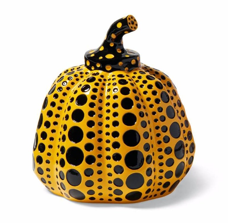 Yayoi Kusama Set of Two Pumpkins: Yellow and Black / Red and White An iconic, vibrantly colored pop art set - these small Kusama pumpkin sculptures feature the universal polka dot patterns and bold colors for which the artist is perhaps best known.