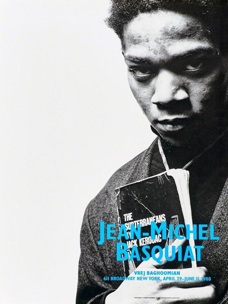 Basquiat Vrej Baghoomian exhibition poster (Basquiat portrait with Jack Kerouac) - Print by (after) Jean-Michel Basquiat