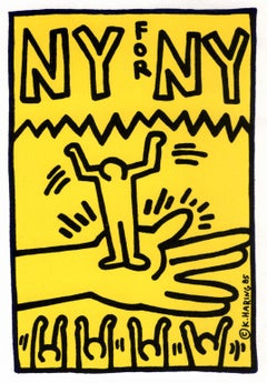 Keith Haring illustrated 1985 announcement (Keith Haring 'NY for NY')