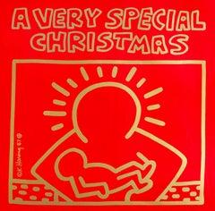 Original Keith Haring Vinyl Record Art (Keith Haring Christmas)