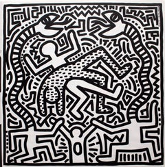 Original Keith Haring 1980s Record Art (Haring snakes)