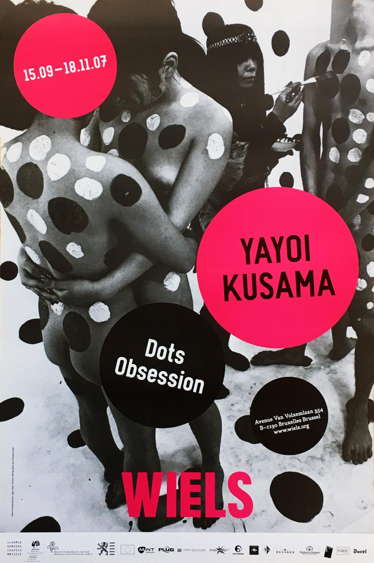 Yayoi Kusama Dots Obsession 2007 An iconic, vibrantly colored pop art piece - this Kusama exhibit poster features the universal polka dot patterns for which the artist is best known; here set amidst a photograph of Kusama painting human figures in