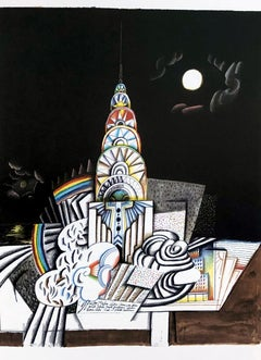 1970s Saul Steinberg lithograph (Saul Steinberg Empire State Building)
