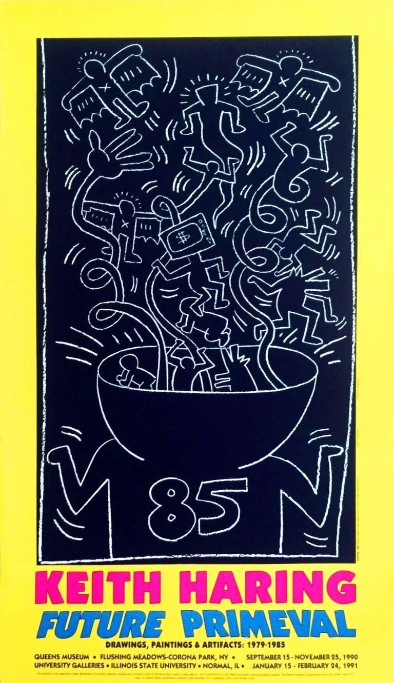 (after) Keith Haring Figurative Print - Keith Haring 1990 Future Primeval Exhibit Poster