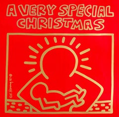 Original Keith Haring Vinyl Record Art (Keith Haring Christmas)