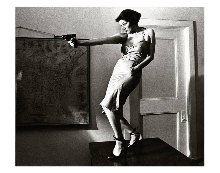 Fernando Natalici Black and White Photograph - Girl With A Gun Patti Astor East Village, 1977 (Amos Poe The Foreigner)