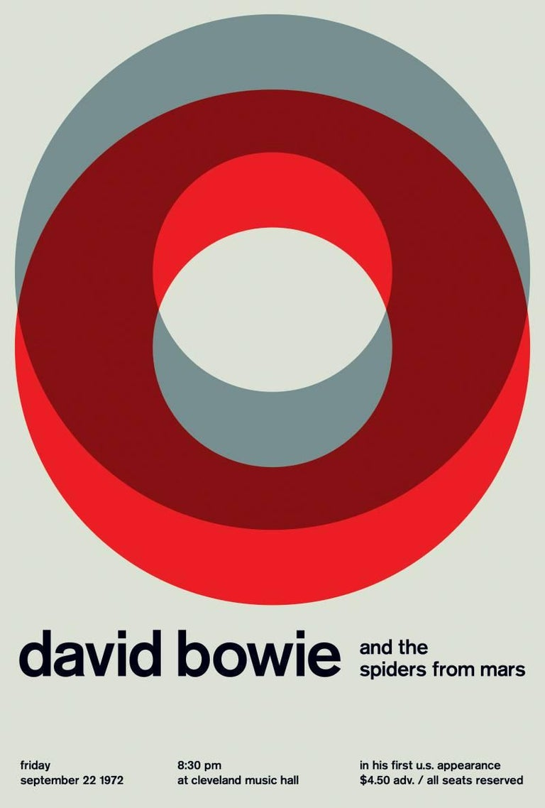 Vintage inspired graphic design print which re-imagines this original Bowie concert date to produce a stunning minimalist look inspired by mid century modernist graphics  Printed on Archival Epson Matte Paper with Remarkable Color Presentation
