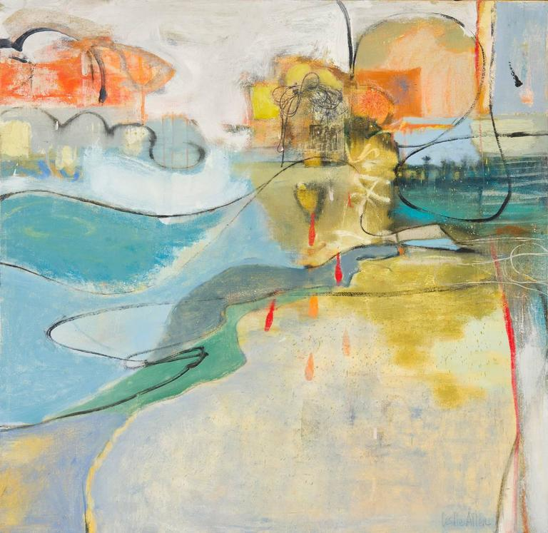 Leslie Allen Abstract Painting - Exit City to Milton Avery Seaside