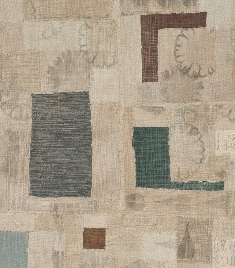 Antique European linen, bookcloth from discarded library books, stencils, thread, mull, walnut dye, and book pages.
