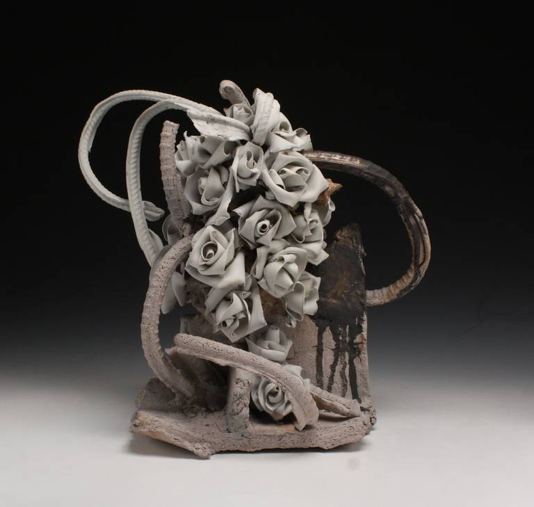 Stoneware and porcelain Beautiful abstract and floral piece. Ryan Mitchell was an assistant of Peter Voulkos.