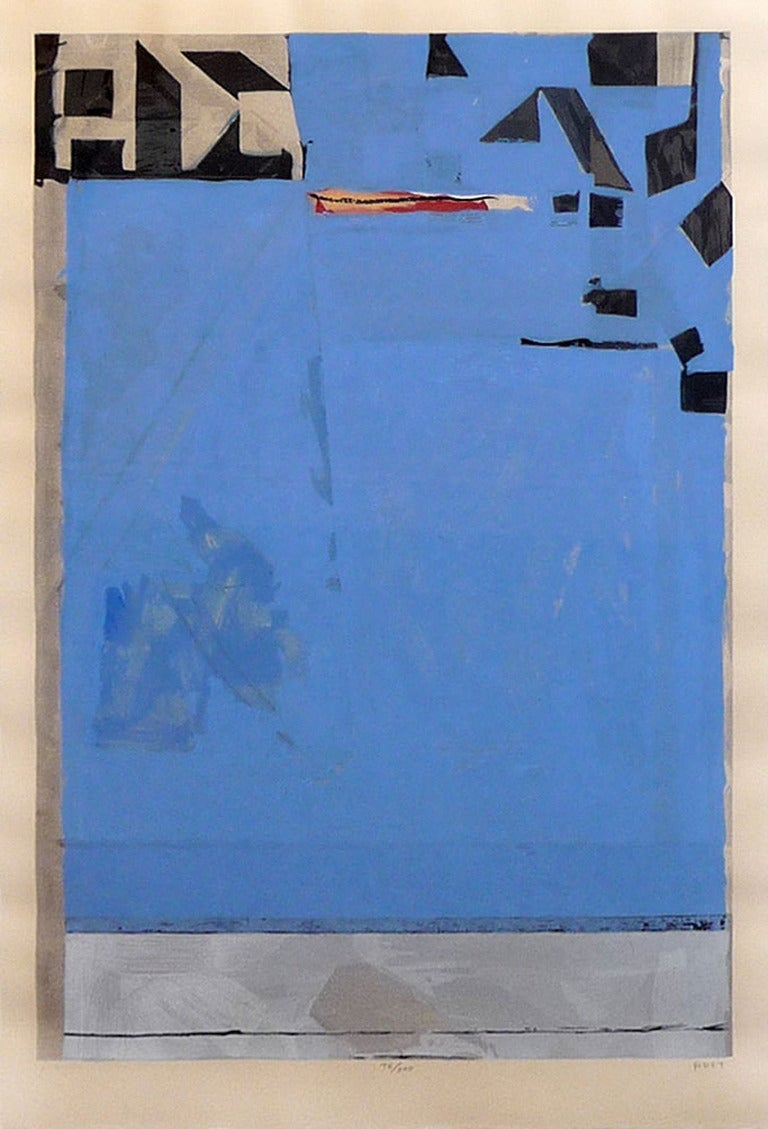 """Richard Diebenkorn woodcut on echizen kozo washi paper 37 x 25"""" 1987 signed by artist *edition of 200 Framed in a beautiful maple frame. museum plexi glass PERFECT condition!  Richard Diebenkorn (1922–1993) maintained his love of vivid color and"""