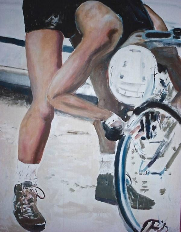 Antonio Ugarte Portrait Painting - Fixing My Bike