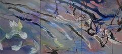 Violet Organic Water Triptych 48 X 108