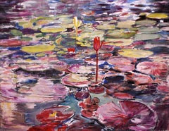 Water Lily with rich reds,blues and yellow