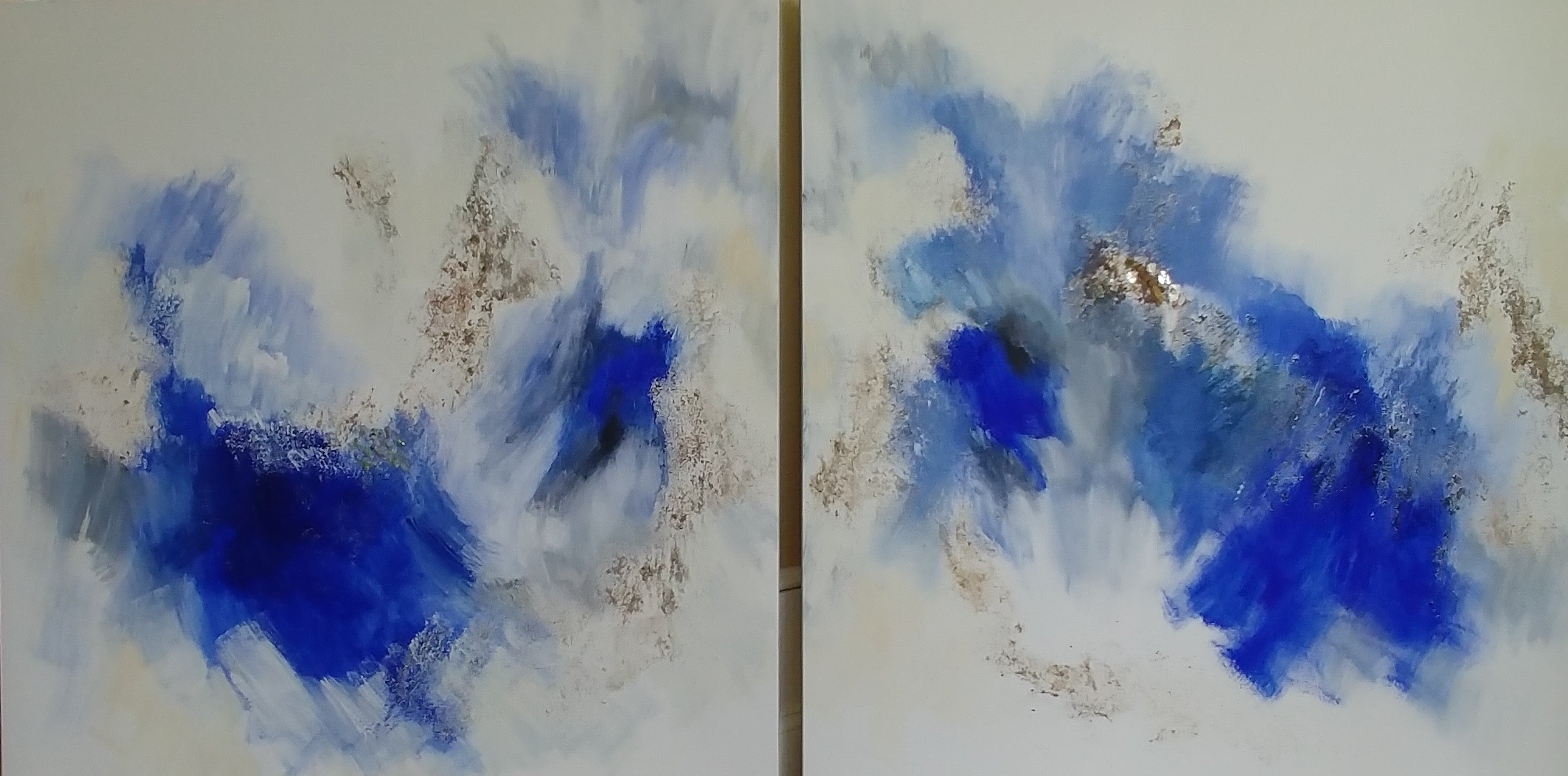"""Joy in the Morning-Deep Blue Abstract Diptych with Fool's Gold 48""""X96"""""""