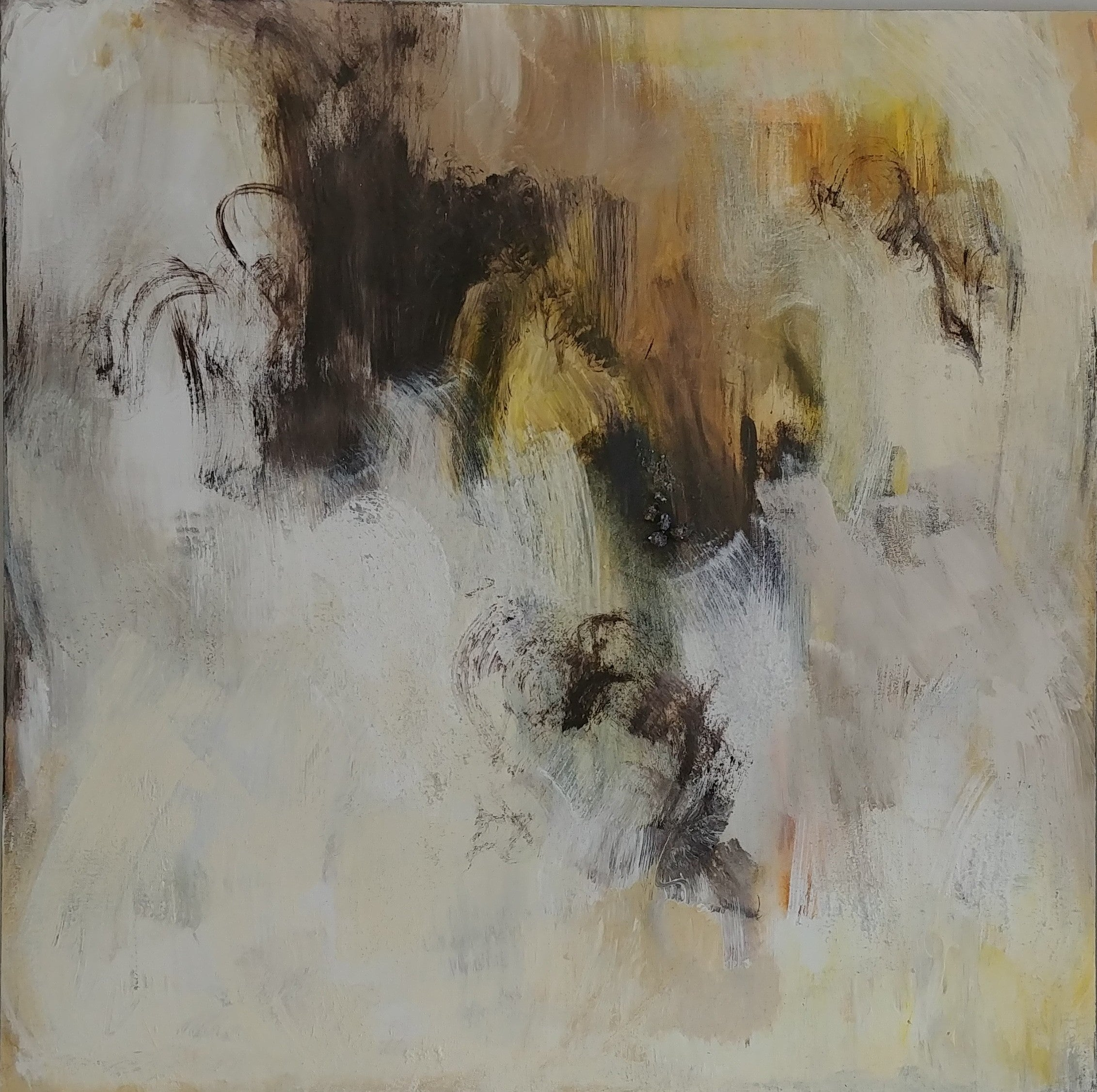 Dream Catcher I- White, black and gold 48 X 48