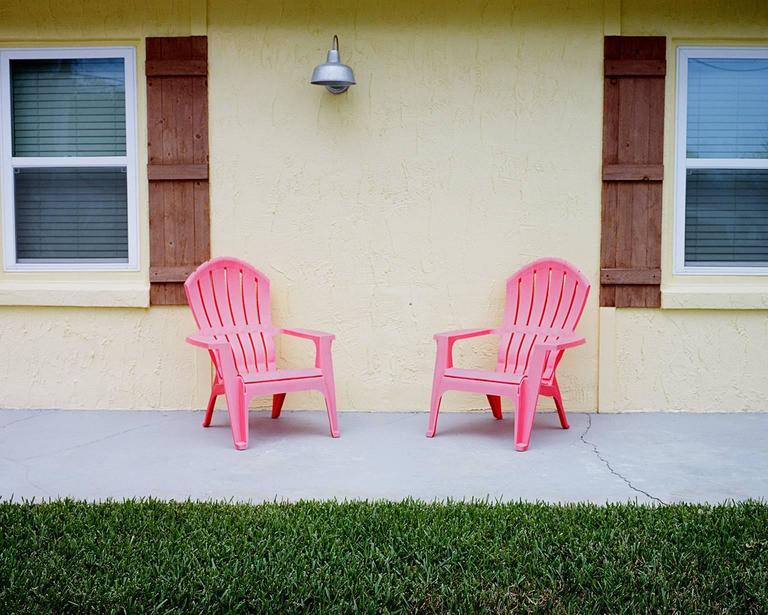 Jim Ryce Color Photograph   Pink Chairs, Daytona Beach