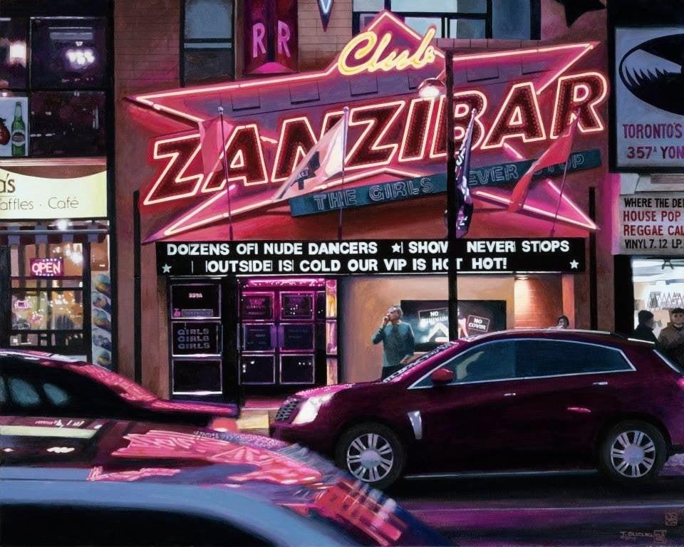 Tad Suzuki - Club Zanzibar: Neon Studies, Painting at 1stdibs