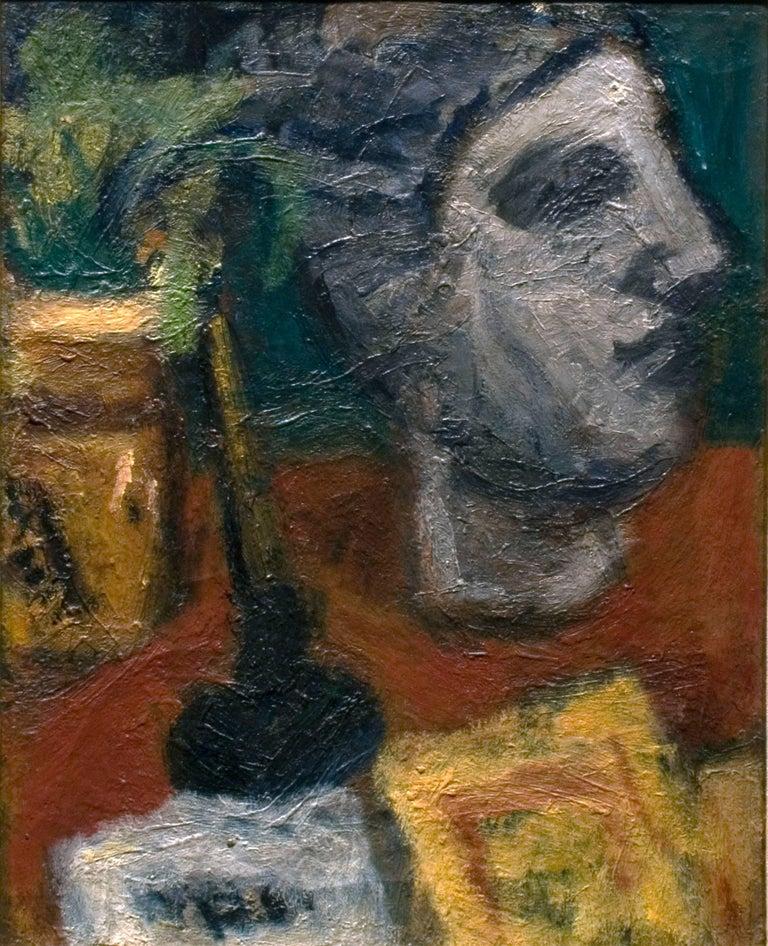 Béla Czóbel Still-Life Painting - Still Life with Sculptured Head