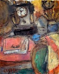 Béla Czóbel - Still Life with Clock