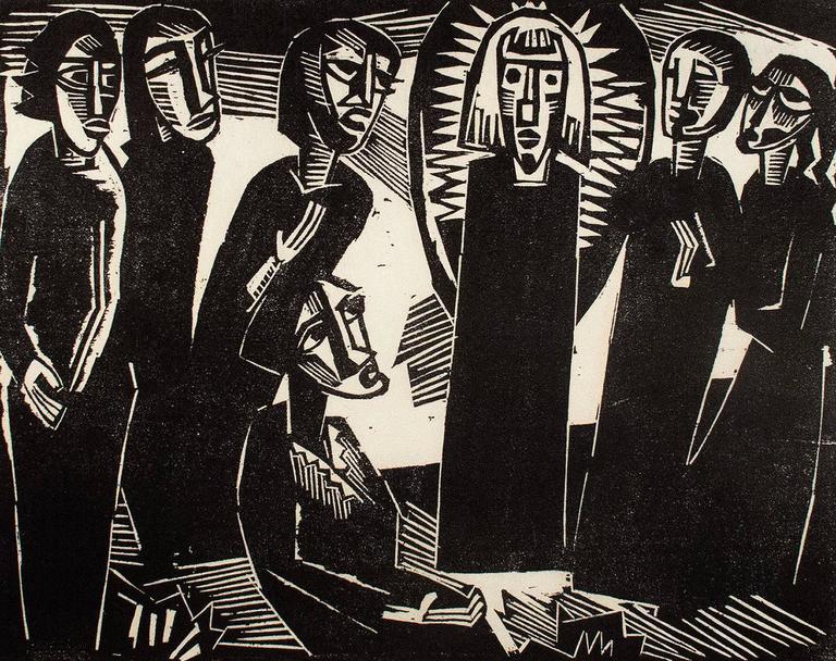 Karl Schmidt-Rottluff Figurative Print - Christus under dem Frauen (Christ Among the Women)