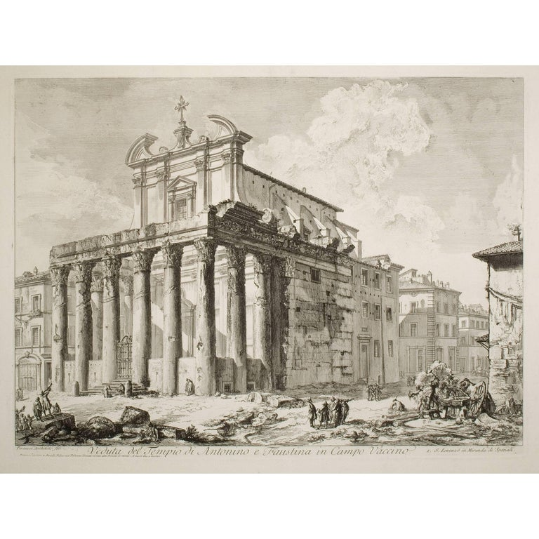 Giovanni Battista Piranesi Landscape Print - The Temple of Antoninus and Faustina (Veduta del Tempio di Antonio e Faustina)