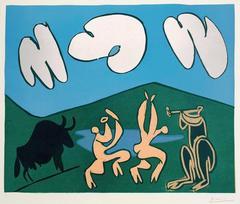 Pablo Picasso - Faunes et chevre (Bacchanal with Black Bull)
