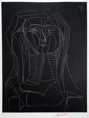 Pablo Picasso - Head on a Black Background