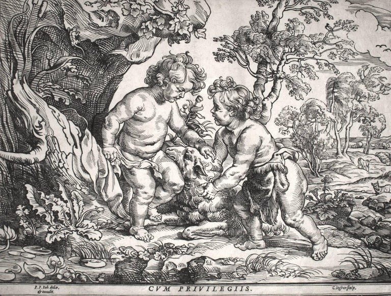 Christoffel Jegher Figurative Print - Christ and the Little Saint John Playing with the Lamb (2nd State)