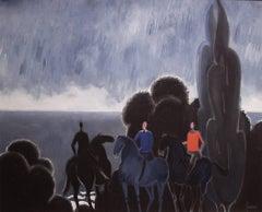 Approaching Storm: Horsemen on Normandy Beach