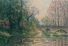 Soleil couchant sur le Loir, Larardin (Loir-et-Cher)