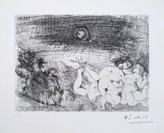 Pablo Picasso - Cavalier Surprenant des Femmes Dansant au Clair de Lune