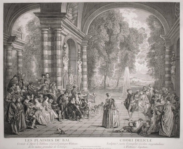 (After) Jean-Antoine Watteau Figurative Print - Les Plaisirs du Bal [before 1st State] (The Pleasures of the Ball)