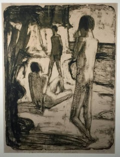 BADENDE MANNER: (THREE MALE BATHERS AT THE SHORE)