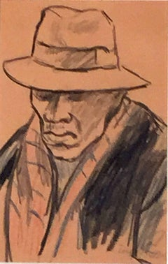 STUDY OF A MAN WITH A HAT AND OVERCOAT