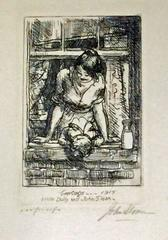 GREETINGS, 1915 or MOTHER AND CHILD AT THE WINDOW.