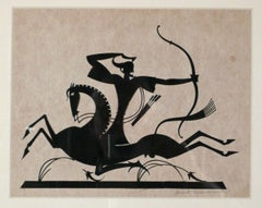 SILHOUETTE OF A GREEK ARCHER ON HORSEBACK